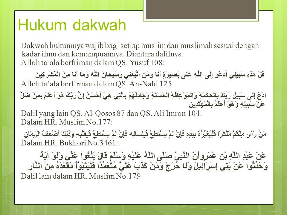 Hukum dakwah Dakwah hukumnya wajib bagi setiap muslim dan muslimah sesuai dengan kadar ilmu dan kemampuannya. Diantara dalilnya: Alloh ta'ala berfrima