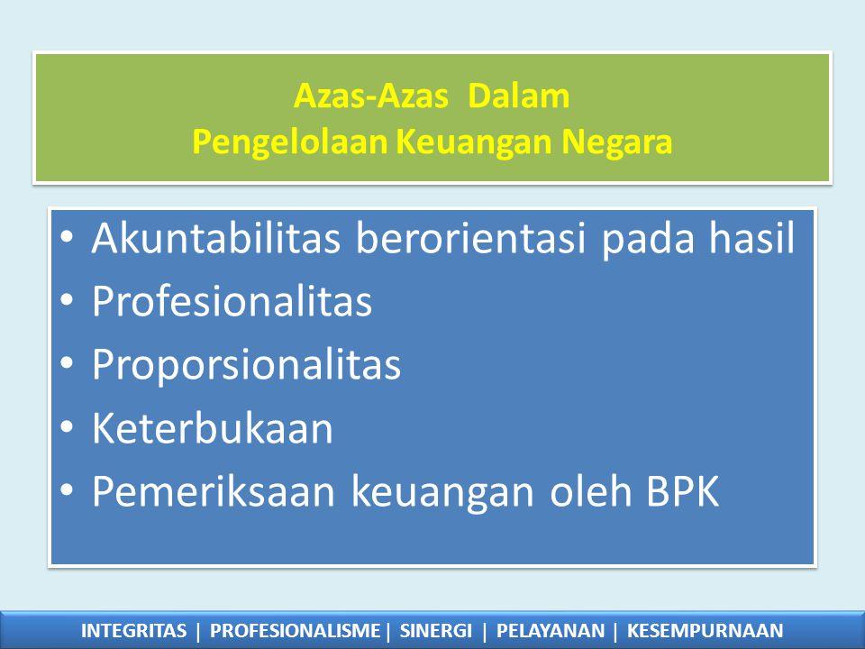 Azas-Azas Dalam Pengelolaan Keuangan Negara • Akuntabilitas berorientasi pada hasil • Profesionalitas • Proporsionalitas • Keterbukaan • Pemeriksaan k