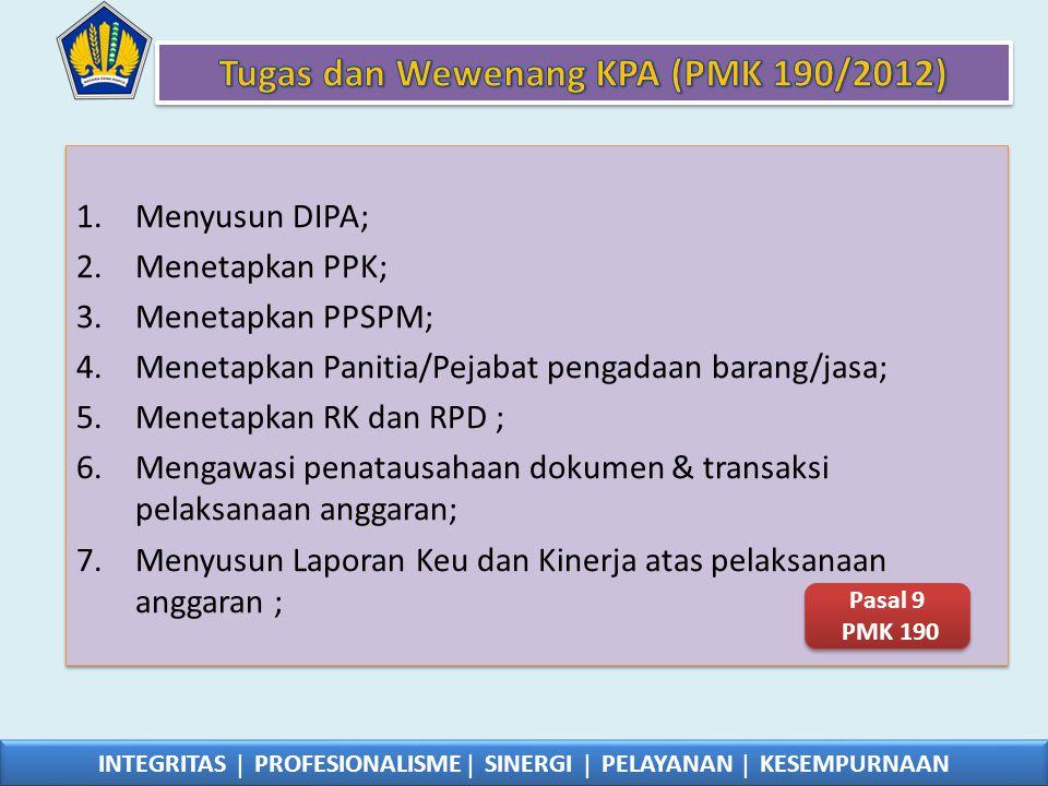 1.Menyusun DIPA; 2.Menetapkan PPK; 3.Menetapkan PPSPM; 4.Menetapkan Panitia/Pejabat pengadaan barang/jasa; 5.Menetapkan RK dan RPD ; 6.Mengawasi penat