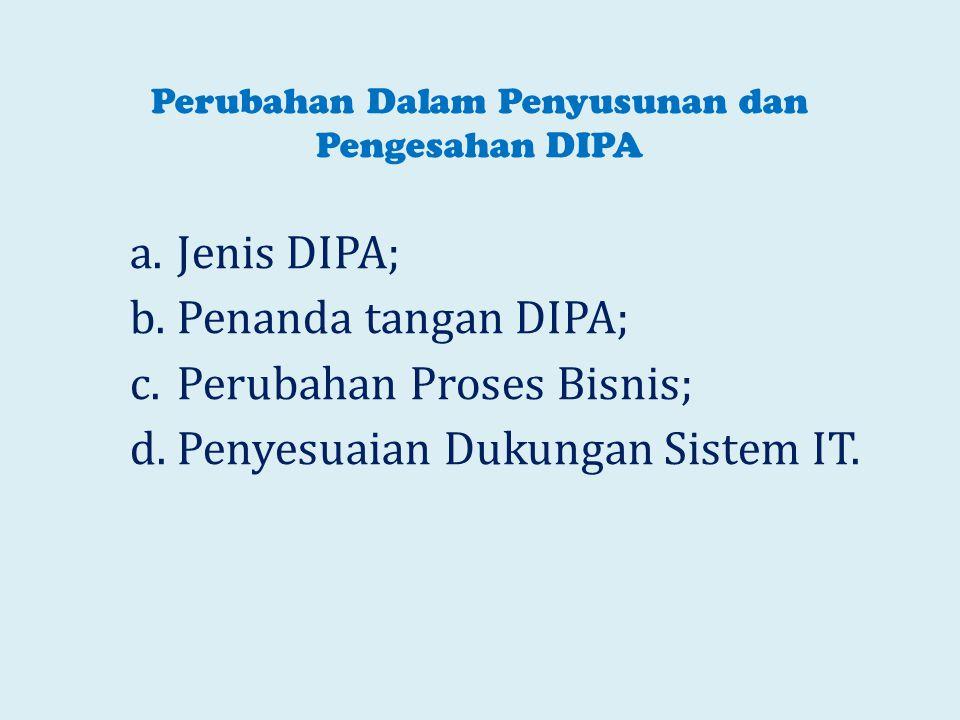 Perubahan Dalam Penyusunan dan Pengesahan DIPA a.Jenis DIPA; b.Penanda tangan DIPA; c.Perubahan Proses Bisnis; d.Penyesuaian Dukungan Sistem IT.