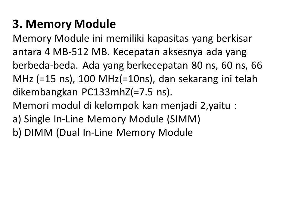 3. Memory Module Memory Module ini memiliki kapasitas yang berkisar antara 4 MB-512 MB. Kecepatan aksesnya ada yang berbeda-beda. Ada yang berkecepata