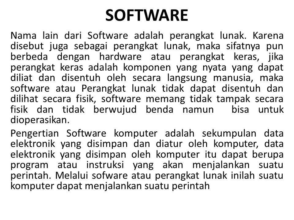 SOFTWARE Nama lain dari Software adalah perangkat lunak. Karena disebut juga sebagai perangkat lunak, maka sifatnya pun berbeda dengan hardware atau p