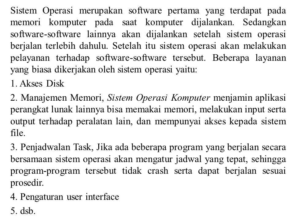 Sistem Operasi merupakan software pertama yang terdapat pada memori komputer pada saat komputer dijalankan. Sedangkan software-software lainnya akan d