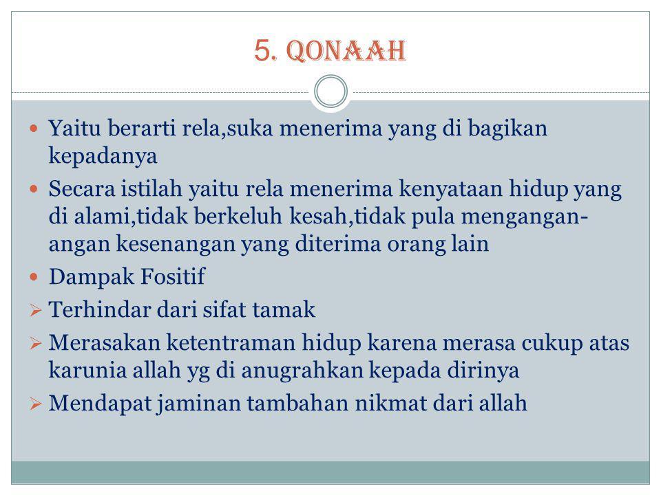 5. QONAAH  Yaitu berarti rela,suka menerima yang di bagikan kepadanya  Secara istilah yaitu rela menerima kenyataan hidup yang di alami,tidak berkel