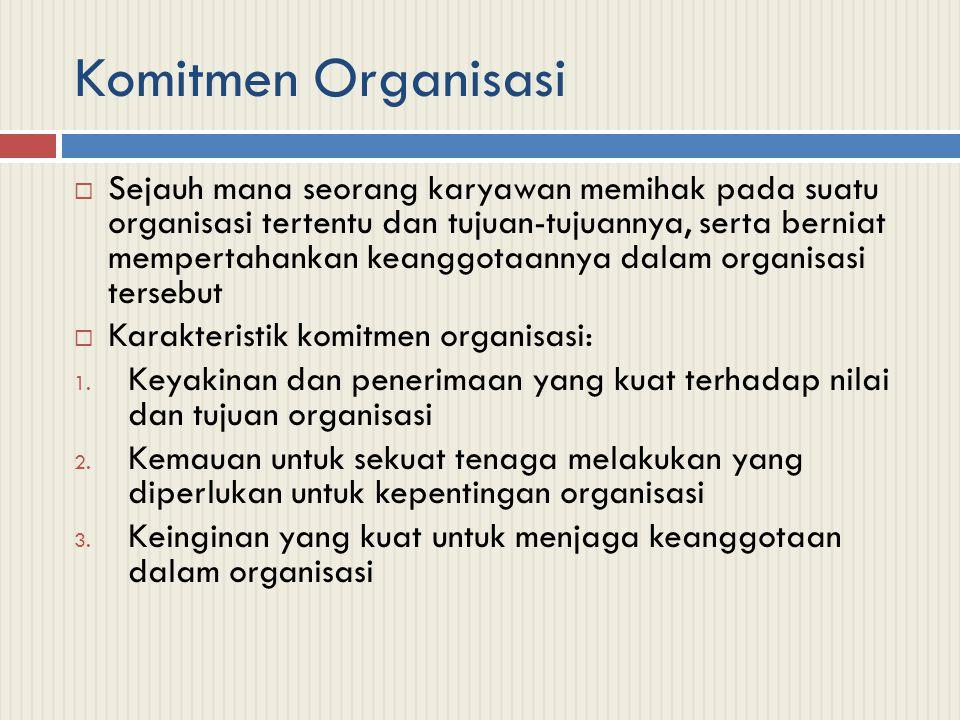 Pengembangan Komitmen Organisasi  Identifikasi: pemahaman atau penghayatan terhadap tujuan organisasi  Keterlibatan: perasaan terlibat dalam suatu pekerjaan atau perasaan bahwa pekerjaan tersebut adalah menyenangkan  Loyalitas: perasaan bahwa organisasi adalah tempatnya bekerja dan tinggal