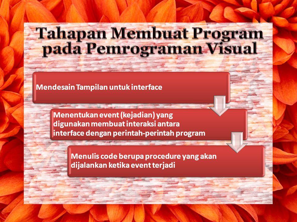 Mendesain Tampilan untuk interface Menentukan event (kejadian) yang digunakan membuat interaksi antara interface dengan perintah-perintah program Menu