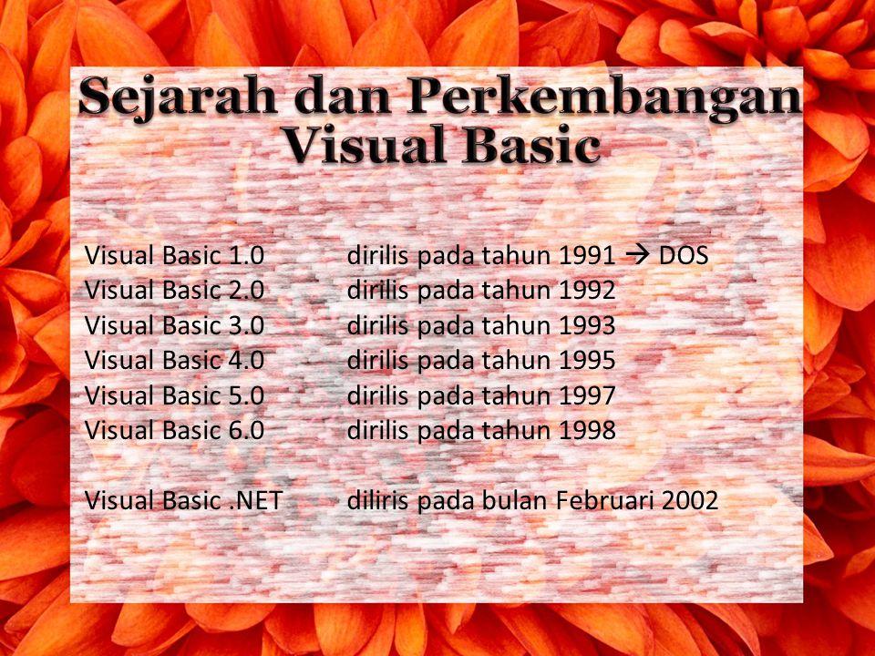 Visual Basic 1.0 dirilis pada tahun 1991  DOS Visual Basic 2.0dirilis pada tahun 1992 Visual Basic 3.0dirilis pada tahun 1993 Visual Basic 4.0dirilis