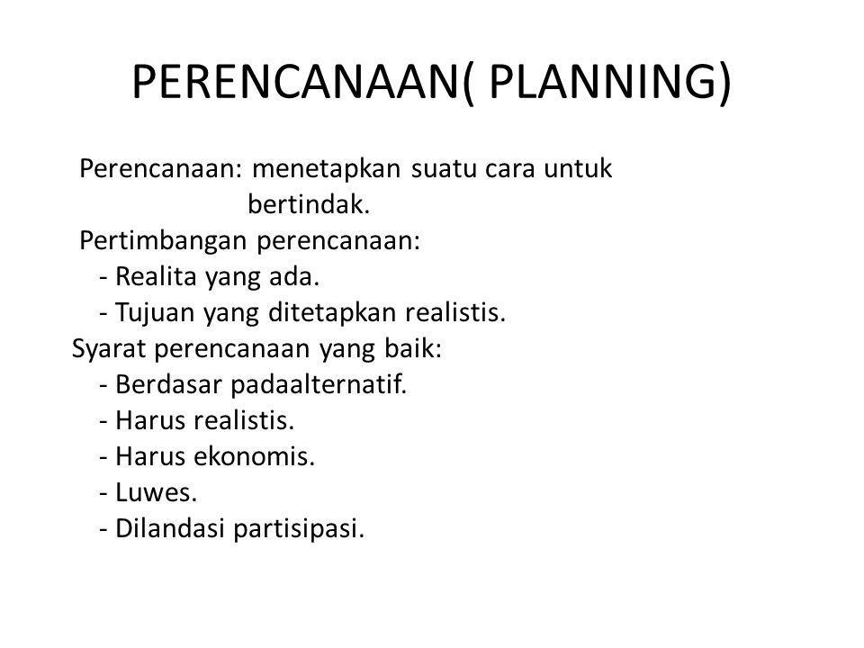 PERENCANAAN( PLANNING) Perencanaan: menetapkan suatu cara untuk bertindak.