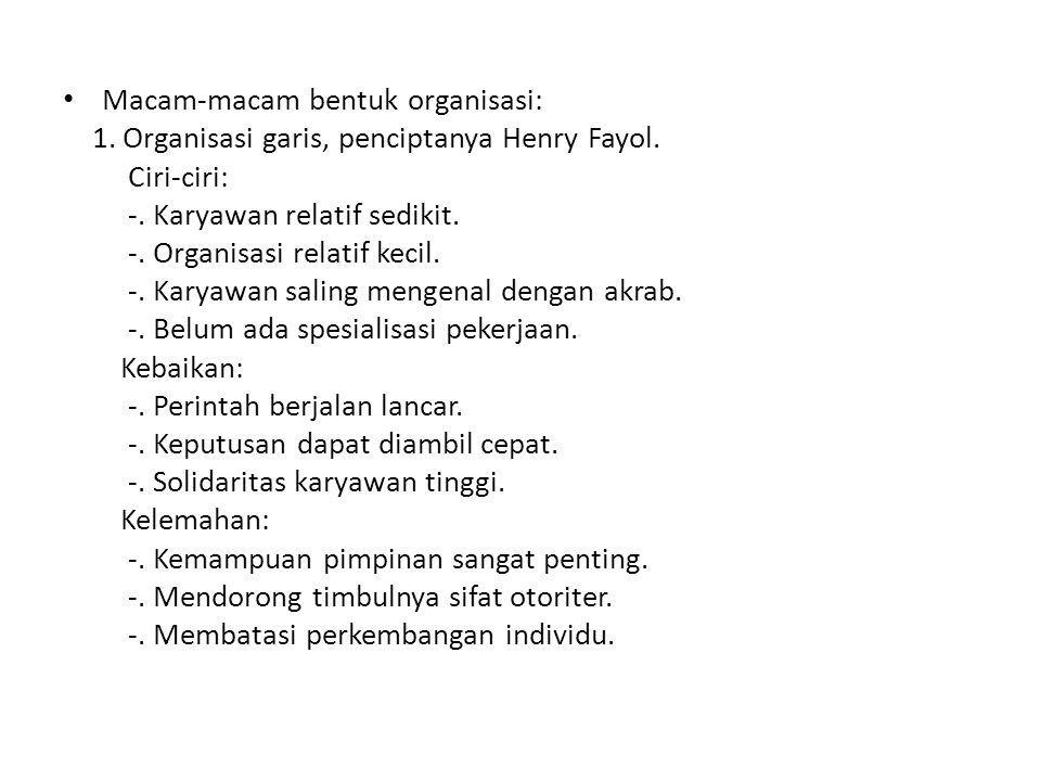 • Macam-macam bentuk organisasi: 1.Organisasi garis, penciptanya Henry Fayol.