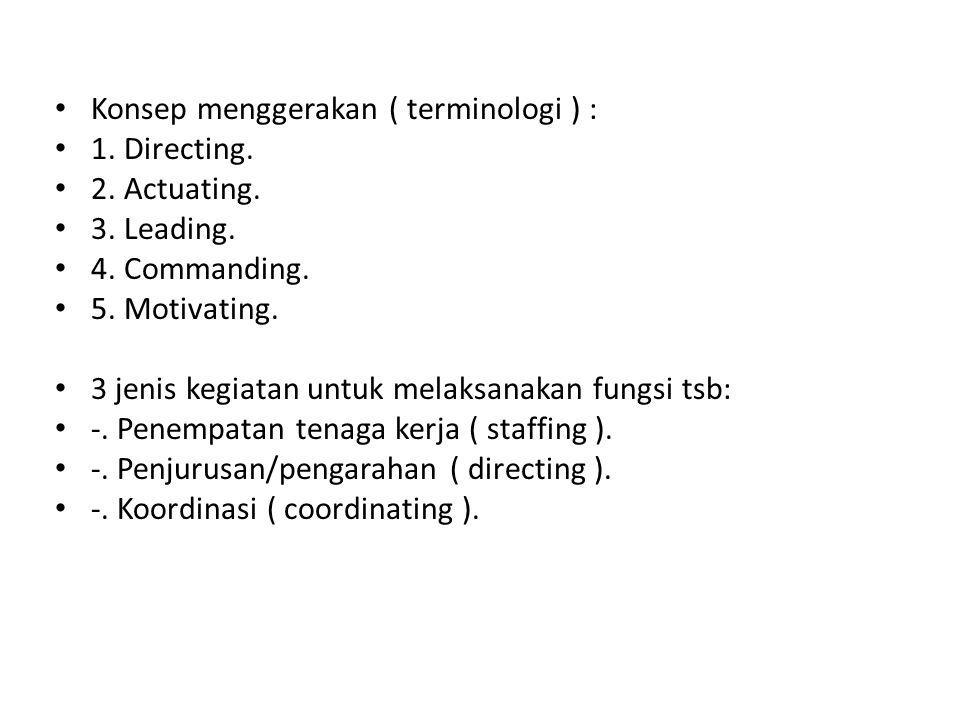 • Konsep menggerakan ( terminologi ) : • 1.Directing.