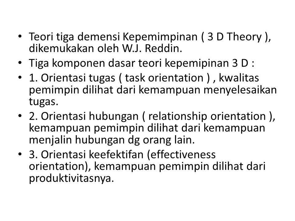 • Teori tiga demensi Kepemimpinan ( 3 D Theory ), dikemukakan oleh W.J.