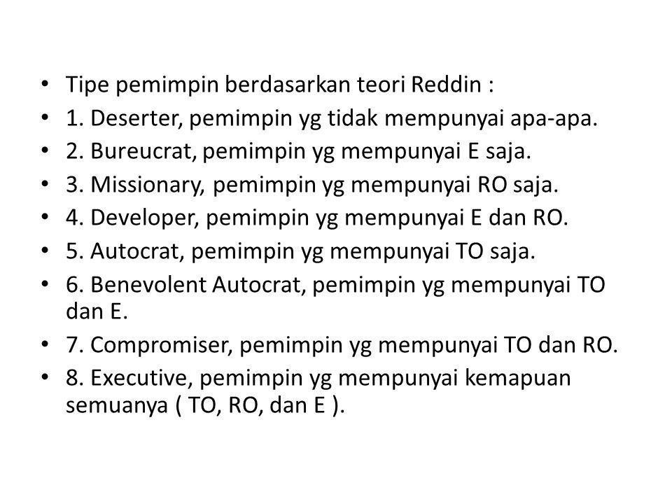 • Tipe pemimpin berdasarkan teori Reddin : • 1.Deserter, pemimpin yg tidak mempunyai apa-apa.