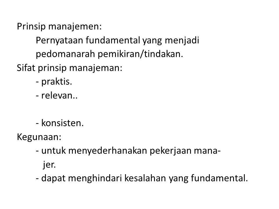 Prinsip manajemen: Pernyataan fundamental yang menjadi pedomanarah pemikiran/tindakan.
