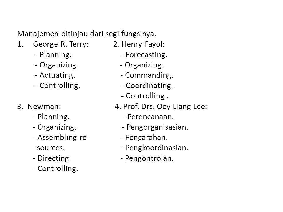 Manajemen ditinjau dari segi fungsinya.1.George R.