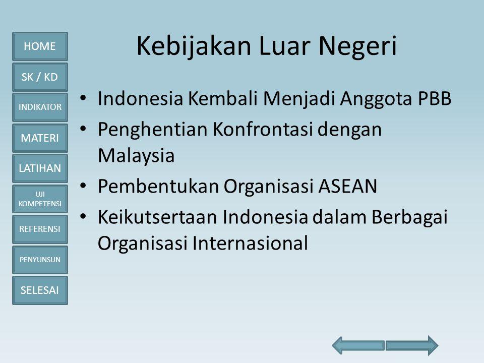 HOME SK / KD INDIKATOR MATERI LATIHAN UJI KOMPETENSI REFERENSI PENYUNSUN SELESAI Kebijakan Luar Negeri • Indonesia Kembali Menjadi Anggota PBB • Pengh