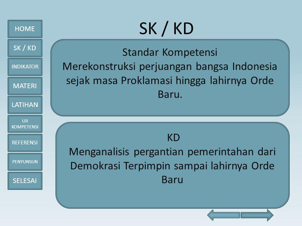 HOME SK / KD INDIKATOR MATERI LATIHAN UJI KOMPETENSI REFERENSI PENYUNSUN SELESAI Kebijakan Luar Negeri • Indonesia Kembali Menjadi Anggota PBB • Penghentian Konfrontasi dengan Malaysia • Pembentukan Organisasi ASEAN • Keikutsertaan Indonesia dalam Berbagai Organisasi Internasional