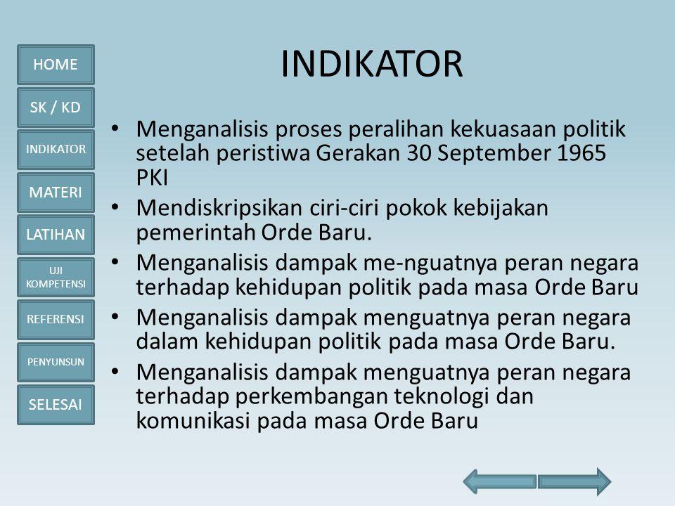 HOME SK / KD INDIKATOR MATERI LATIHAN UJI KOMPETENSI REFERENSI PENYUNSUN SELESAI Indonesia Kembali Menjadi Anggota PBB
