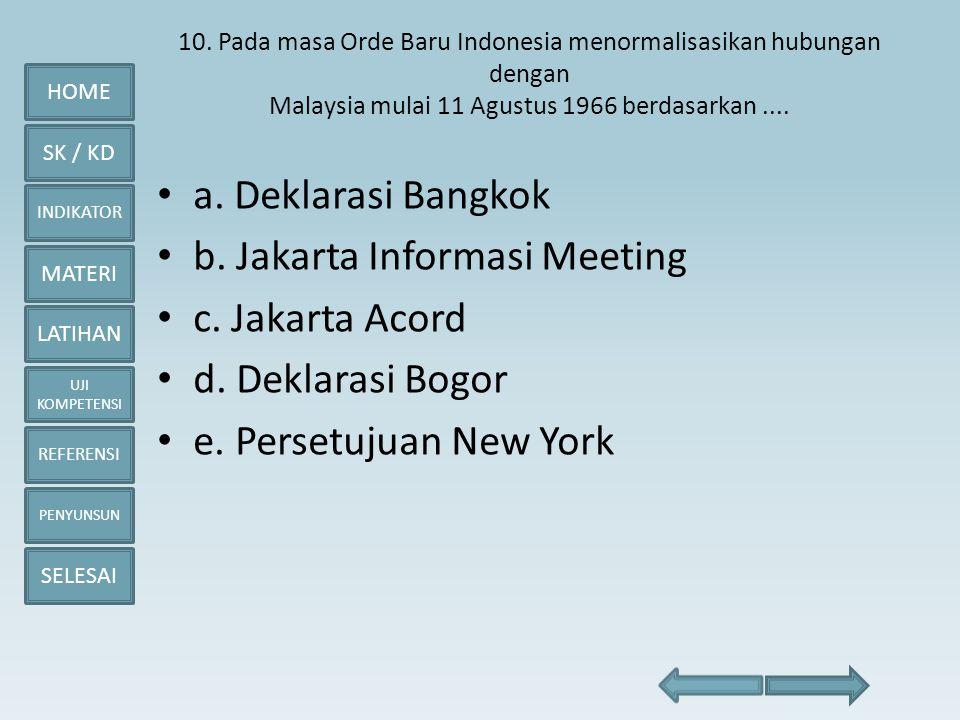 HOME SK / KD INDIKATOR MATERI LATIHAN UJI KOMPETENSI REFERENSI PENYUNSUN SELESAI 10. Pada masa Orde Baru Indonesia menormalisasikan hubungan dengan Ma