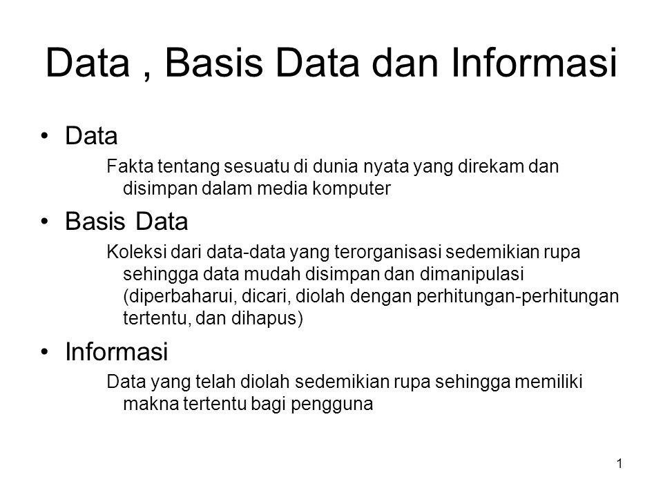 1 Data, Basis Data dan Informasi •Data Fakta tentang sesuatu di dunia nyata yang direkam dan disimpan dalam media komputer •Basis Data Koleksi dari da