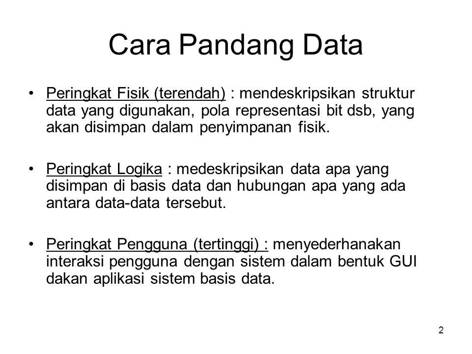 2 Cara Pandang Data •Peringkat Fisik (terendah) : mendeskripsikan struktur data yang digunakan, pola representasi bit dsb, yang akan disimpan dalam pe