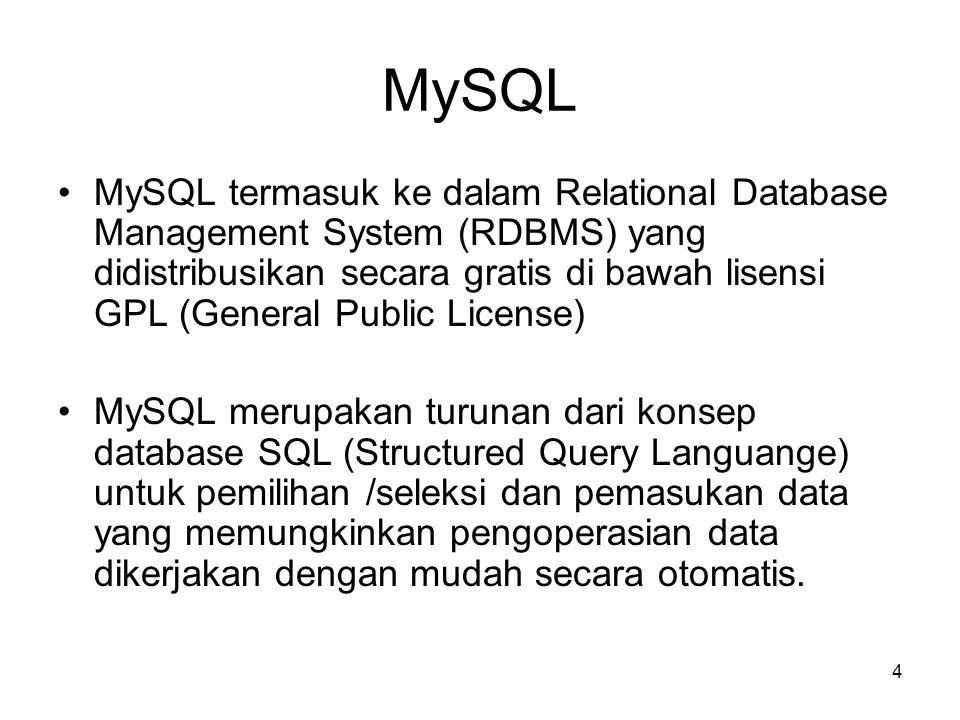 4 MySQL •MySQL termasuk ke dalam Relational Database Management System (RDBMS) yang didistribusikan secara gratis di bawah lisensi GPL (General Public