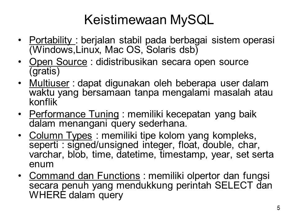5 Keistimewaan MySQL •Portability : berjalan stabil pada berbagai sistem operasi (Windows,Linux, Mac OS, Solaris dsb) •Open Source : didistribusikan secara open source (gratis) •Multiuser : dapat digunakan oleh beberapa user dalam waktu yang bersamaan tanpa mengalami masalah atau konflik •Performance Tuning : memiliki kecepatan yang baik dalam menangani query sederhana.