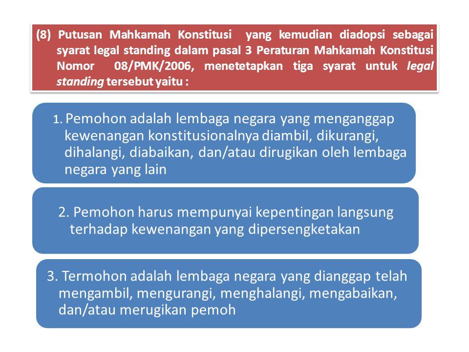21)Badan Pemeriksa Keuangan (BPK). 22)Mahkamah Agung (MA) 23)Mahkamah Konstitusi (MK). 24)Komisi Yudisial.(KY) 25)Tentara Nasional Indonesia(TNI). 26)