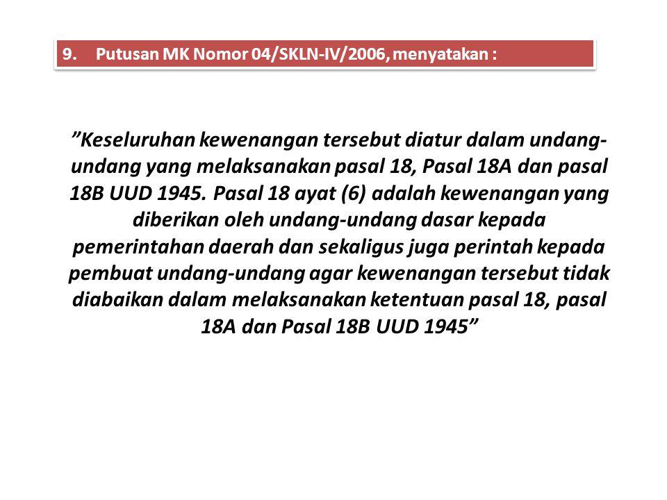 LEGAL STANDING - SKLN - JURISPRUDENSI MK • Putusan MK Nomor 001/SKLN - II/2004 • Putusan MK Nomor 002/SKLN – IV/2006 ……Bahwa KPU Kota Depok merupakan
