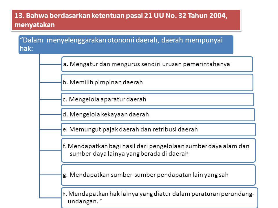 12. Pasal 18 ayat (1), ayat (2), ayat (3), ayat (4), ayat (5), dan ayat (6) UUD 1945, mengatur sebagai berikut: Negara Kesatuan Republik Indonesia dib