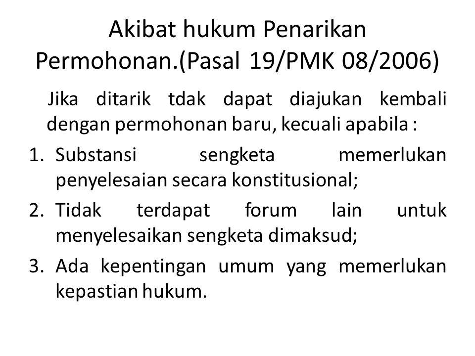 Penarikan Permohonan • Pasal 18 PMK 08/2006 • 1.Penarikan dpt dilakukan sebelum/selama pemeriksaan. • 2.Apabila penarikan yg dilakukan setelah pemerik