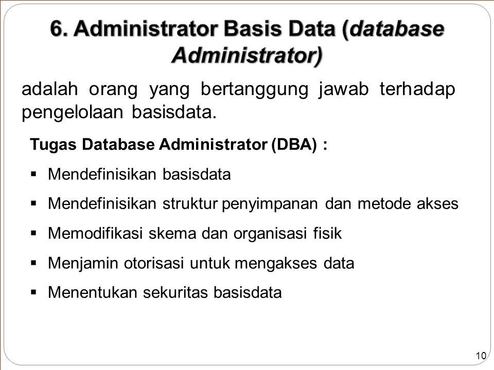 10 adalah orang yang bertanggung jawab terhadap pengelolaan basisdata.