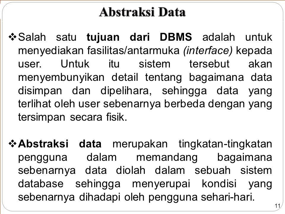 11  Salah satu tujuan dari DBMS adalah untuk menyediakan fasilitas/antarmuka (interface) kepada user.