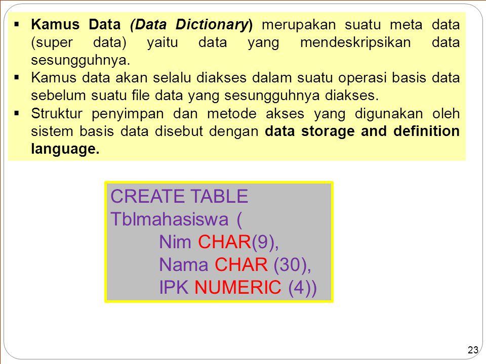 23 CREATE TABLE Tblmahasiswa ( Nim CHAR(9), Nama CHAR (30), IPK NUMERIC (4))  Kamus Data (Data Dictionary) merupakan suatu meta data (super data) yaitu data yang mendeskripsikan data sesungguhnya.