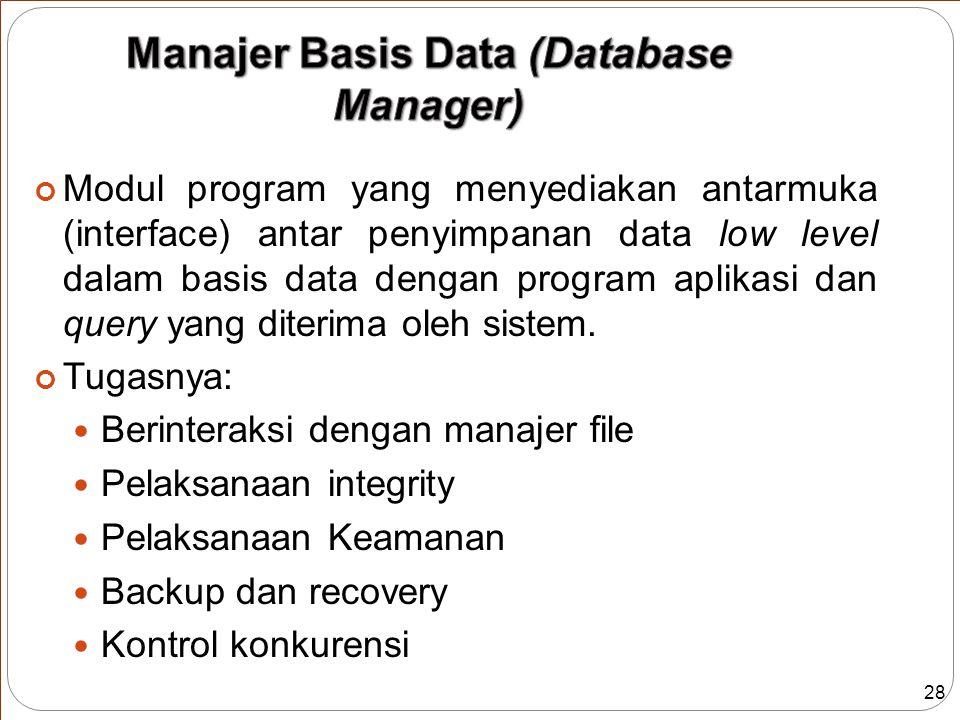 28 Modul program yang menyediakan antarmuka (interface) antar penyimpanan data low level dalam basis data dengan program aplikasi dan query yang diterima oleh sistem.