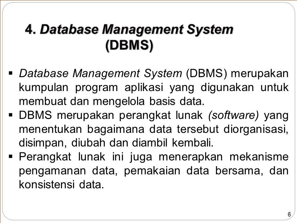 7  Perangkat lunak yang termasuk DBMS adalah sebagai berikut : Nama DBMSNama Perusahaan Access Microsoft Corporation DB2 IBM Informix IBM Ingres Computer Associate MySQL The MySQL AB Company Oracle Oracle Corporation PostgreSQL ww.postgrsql.com Sybase Sybase Inc Tabel 1.1.