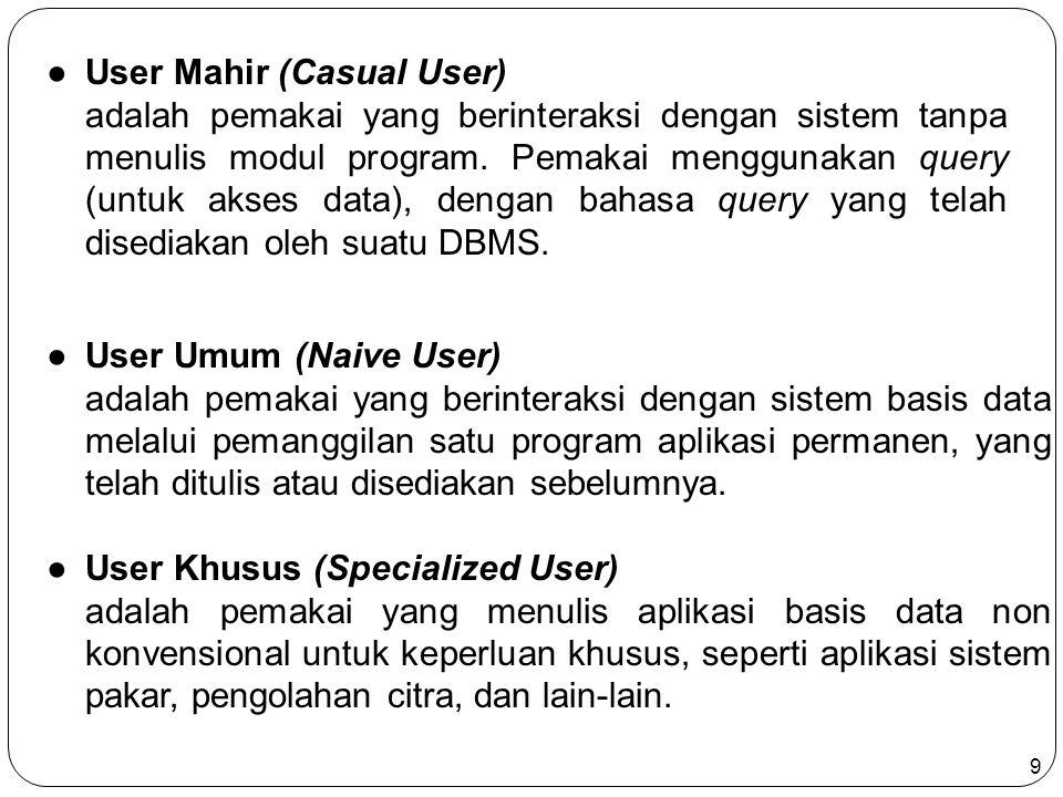 9 ●User Umum (Naive User) adalah pemakai yang berinteraksi dengan sistem basis data melalui pemanggilan satu program aplikasi permanen, yang telah ditulis atau disediakan sebelumnya.