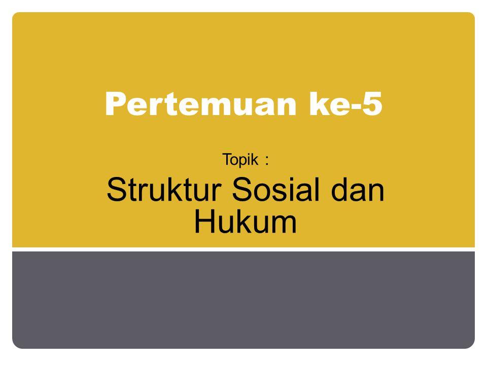 Pertemuan ke-5 Topik : Struktur Sosial dan Hukum