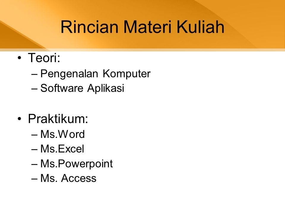 Rincian Materi Kuliah •Teori: –Pengenalan Komputer –Software Aplikasi •Praktikum: –Ms.Word –Ms.Excel –Ms.Powerpoint –Ms. Access