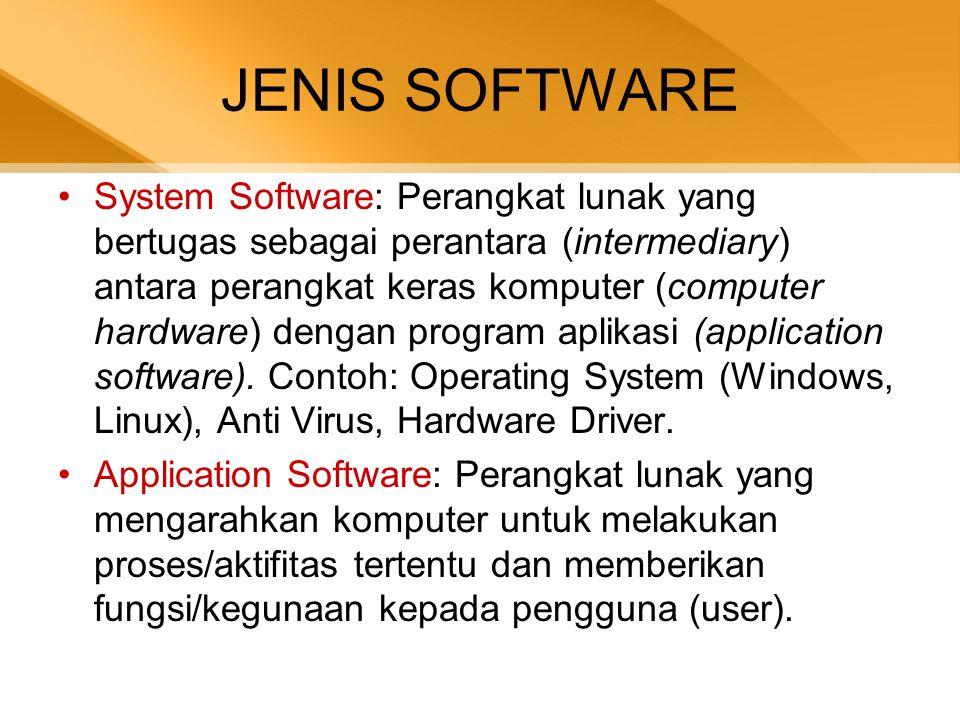 JENIS SOFTWARE •System Software: Perangkat lunak yang bertugas sebagai perantara (intermediary) antara perangkat keras komputer (computer hardware) dengan program aplikasi (application software).