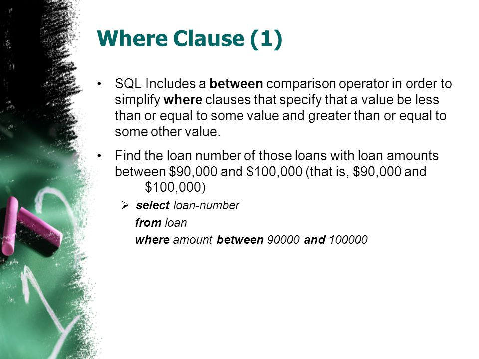 Rename Operation •The SQL allows renaming relations and attributes using the as clause:  old-name as new-name •Find the name, loan number and loan amount of all customers; rename the column name loan-number as loan-id.