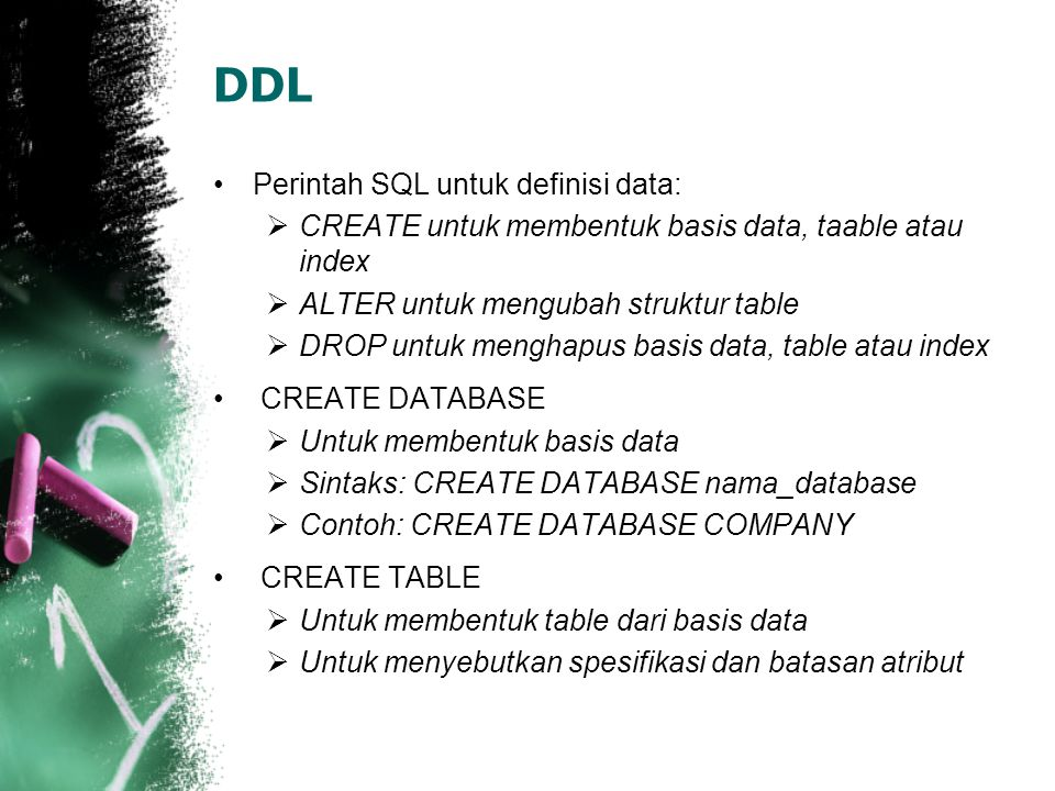 DDL (1) Contoh CREATE TABLE: CREATE TABLE EMPLOYEE ( PNAME CHAR(15) NOT NULL LNAME CHAR(15) NOT NULL SSN CHAR(9) NOT NULL BDATE DATE ADDRESS CHAR(30) SEX CHAR SALARY DECIMAL(10.2) DNO CHAR(10) );