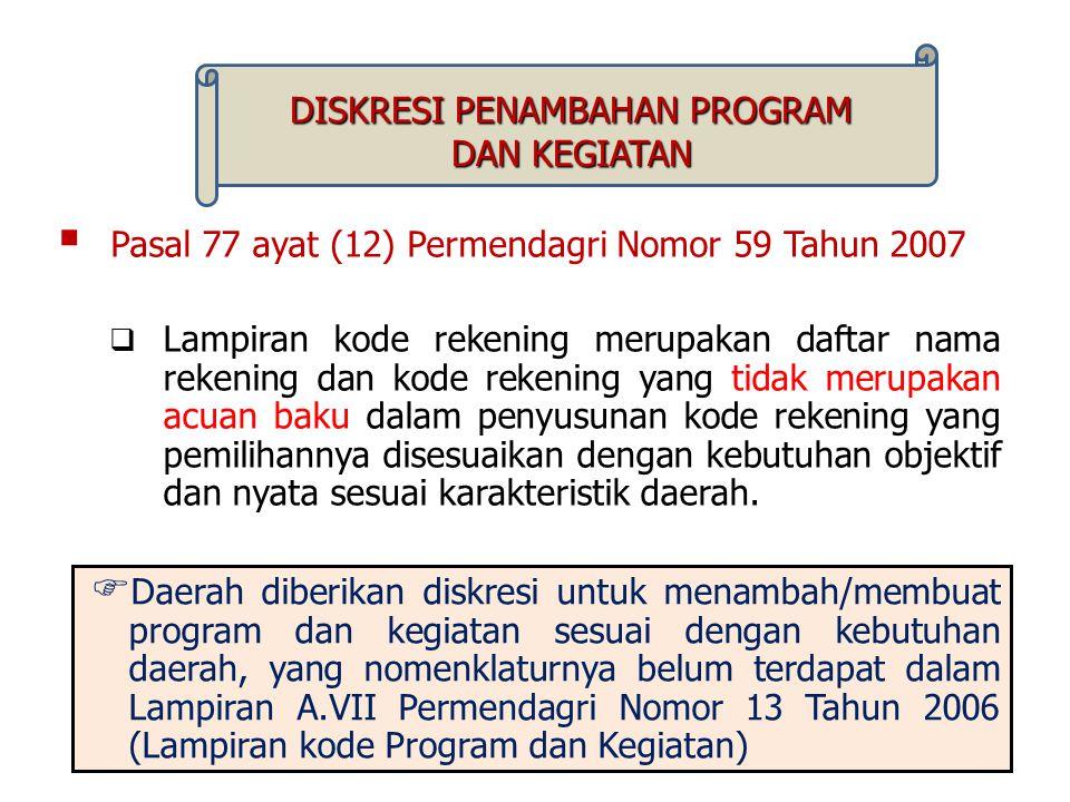  Pasal 77 ayat (12) Permendagri Nomor 59 Tahun 2007  Lampiran kode rekening merupakan daftar nama rekening dan kode rekening yang tidak merupakan ac