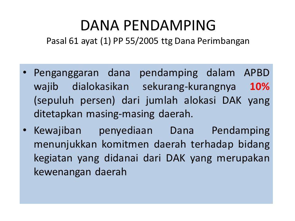 DANA PENDAMPING Pasal 61 ayat (1) PP 55/2005 ttg Dana Perimbangan • Penganggaran dana pendamping dalam APBD wajib dialokasikan sekurang-kurangnya 10%