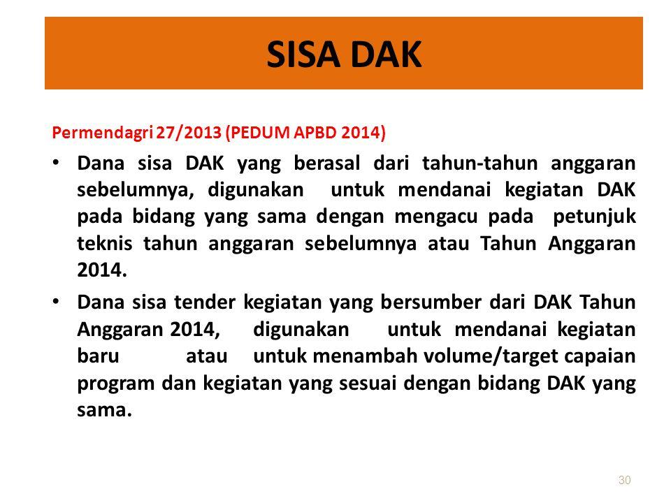 SISA DAK Permendagri 27/2013 (PEDUM APBD 2014) • Dana sisa DAK yang berasal dari tahun-tahun anggaran sebelumnya, digunakan untuk mendanai kegiatan DA