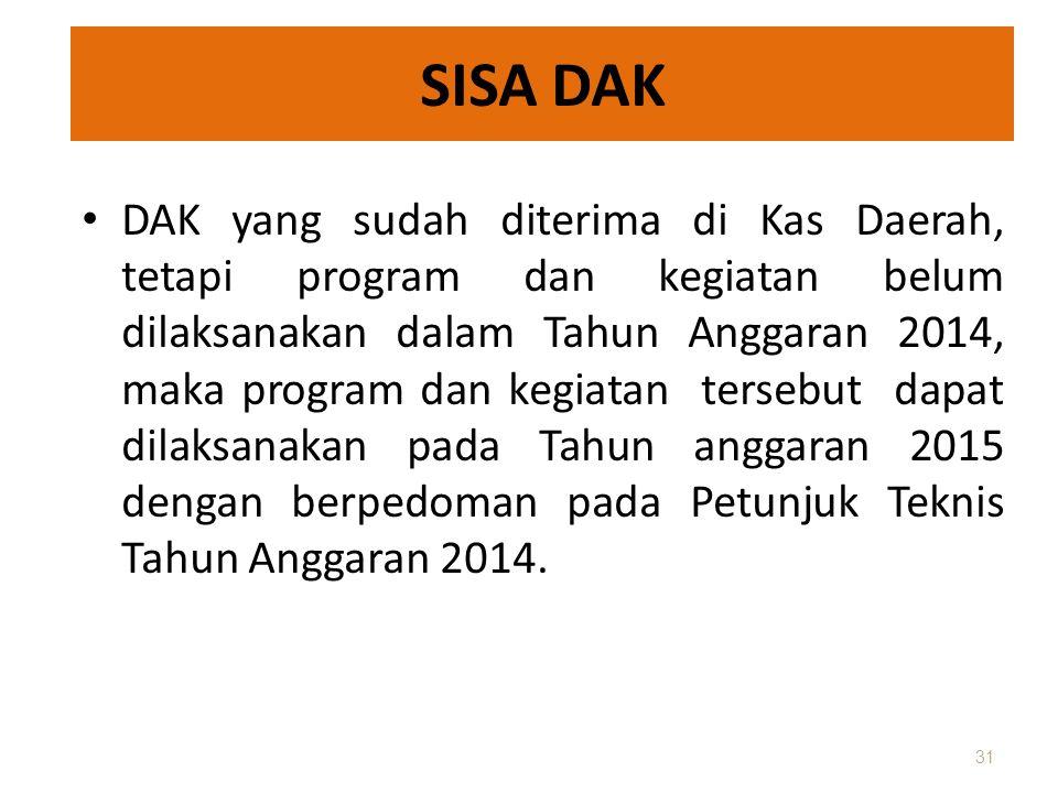 SISA DAK • DAK yang sudah diterima di Kas Daerah, tetapi program dan kegiatan belum dilaksanakan dalam Tahun Anggaran 2014, maka program dan kegiatan