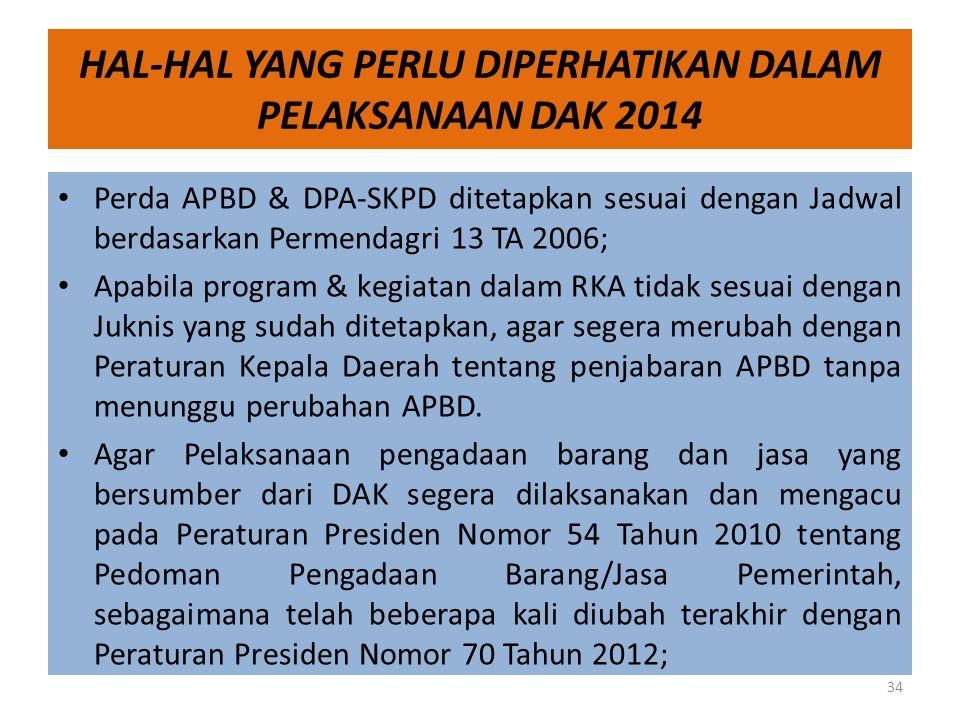HAL-HAL YANG PERLU DIPERHATIKAN DALAM PELAKSANAAN DAK 2014 • Perda APBD & DPA-SKPD ditetapkan sesuai dengan Jadwal berdasarkan Permendagri 13 TA 2006;