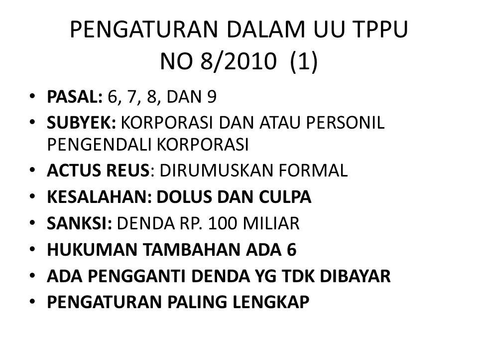 PENGATURAN DALAM UU TPPU NO 8/2010 (1) • PASAL: 6, 7, 8, DAN 9 • SUBYEK: KORPORASI DAN ATAU PERSONIL PENGENDALI KORPORASI • ACTUS REUS: DIRUMUSKAN FOR