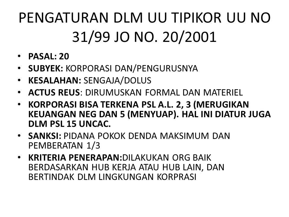 PENGATURAN DLM UU TIPIKOR UU NO 31/99 JO NO. 20/2001 • PASAL: 20 • SUBYEK: KORPORASI DAN/PENGURUSNYA • KESALAHAN: SENGAJA/DOLUS • ACTUS REUS: DIRUMUSK