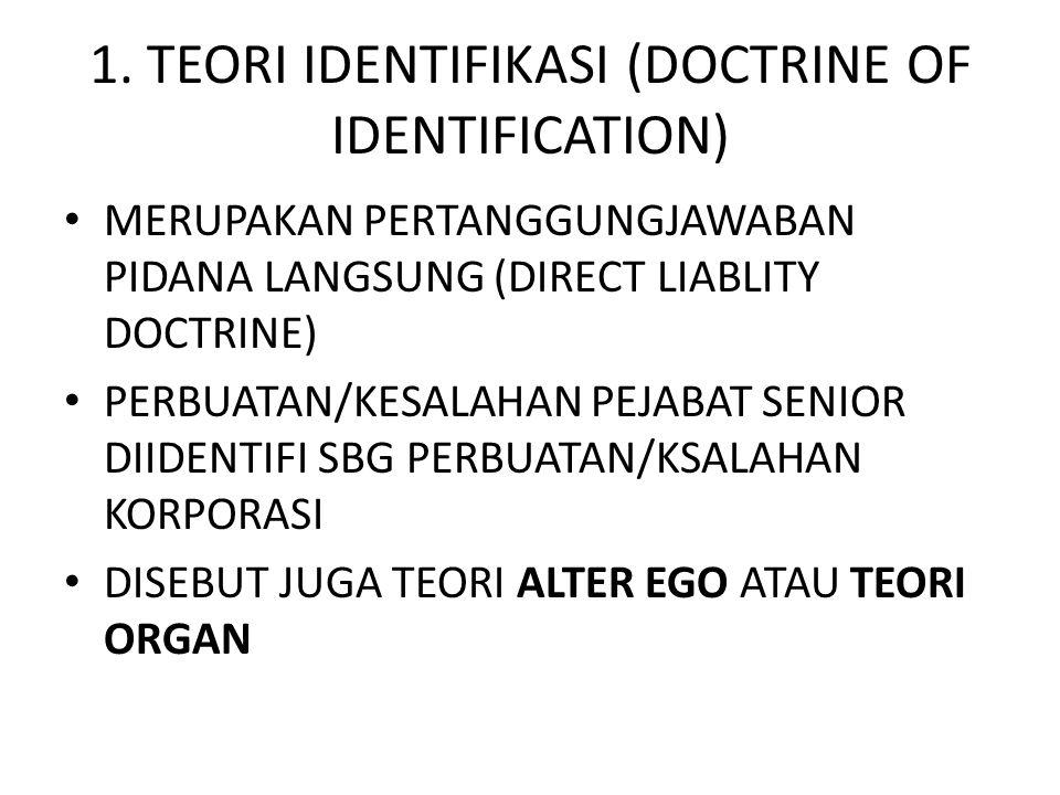 1. TEORI IDENTIFIKASI (DOCTRINE OF IDENTIFICATION) • MERUPAKAN PERTANGGUNGJAWABAN PIDANA LANGSUNG (DIRECT LIABLITY DOCTRINE) • PERBUATAN/KESALAHAN PEJ