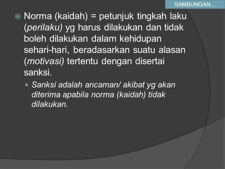 Norma (kaidah) = petunjuk tingkah laku (perilaku) yg harus dilakukan dan tidak boleh dilakukan dalam kehidupan sehari-hari, beradasarkan suatu alasa